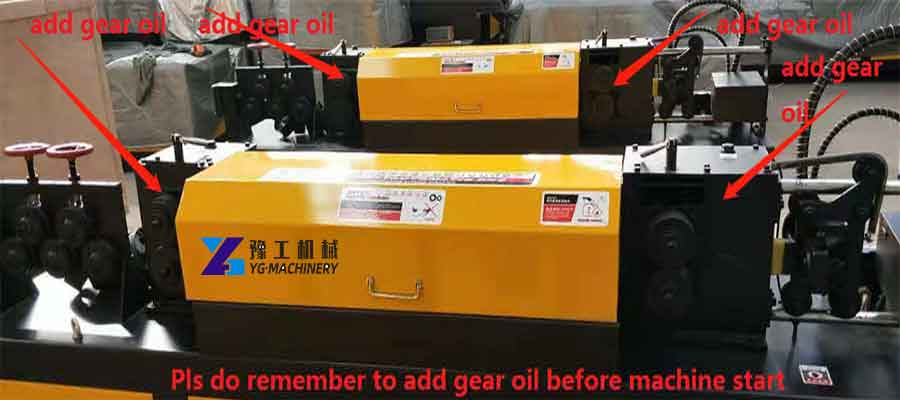Straightening and Cutting Machine Instruction to Add Gear Oil