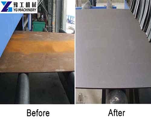 Steel Plate Shot Blasting Effect in YG Machinery